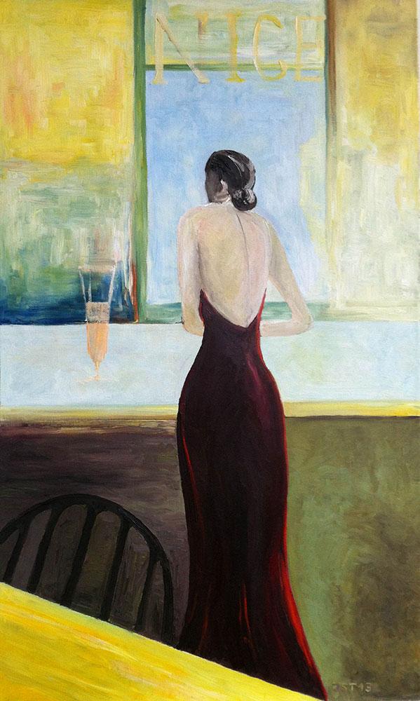 Mademoiselle Robe Rouge - Öl auf Leinwand - 2010
