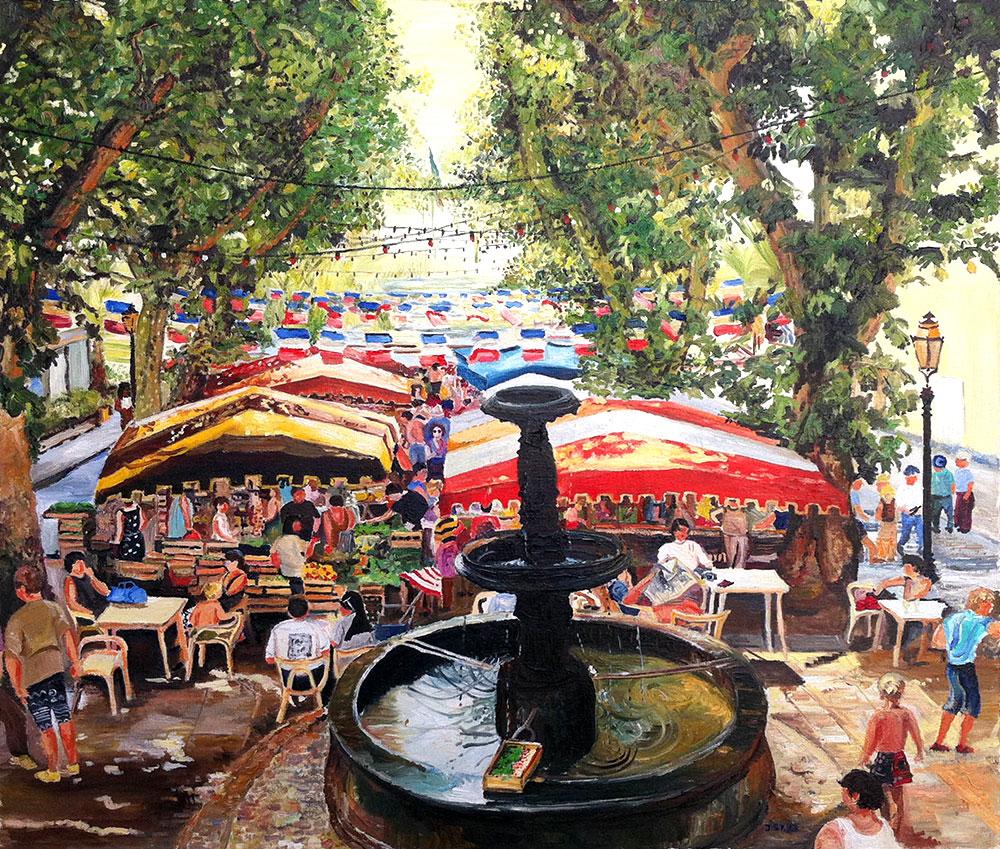 Marché à Bandol - Öl auf Leinwand - 1993