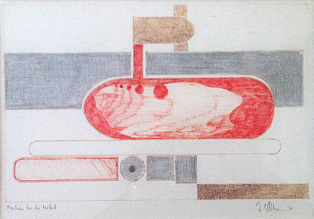 Maschine bei der Arbeit - Buntstifte auf Papier - 1971