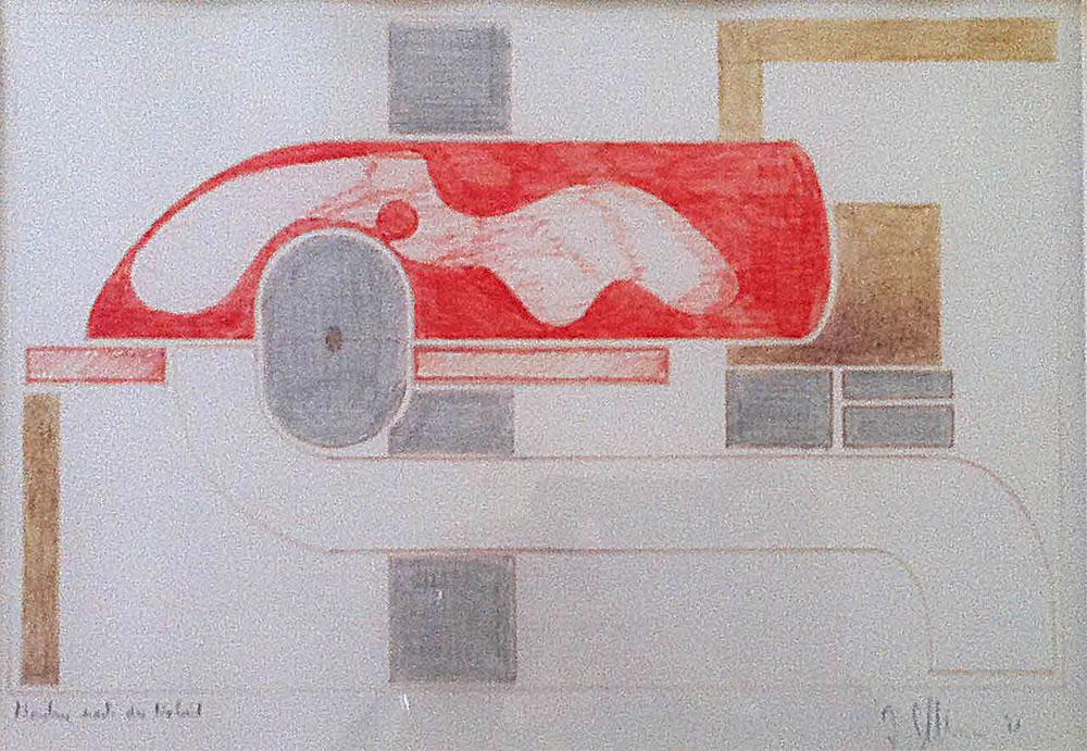Maschine nach der Arbeit - Buntstifte auf Papier - 1971
