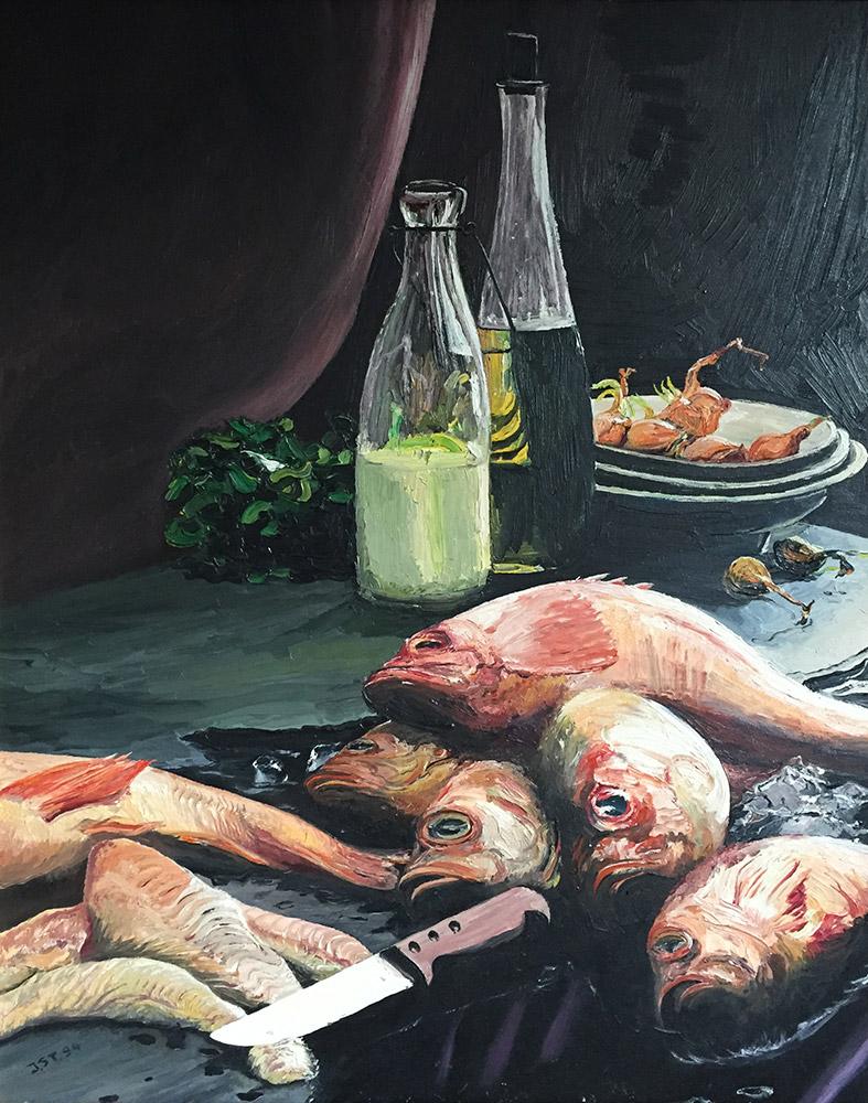 Stilleben mit Fischen - Öl auf Leinwand - 1994