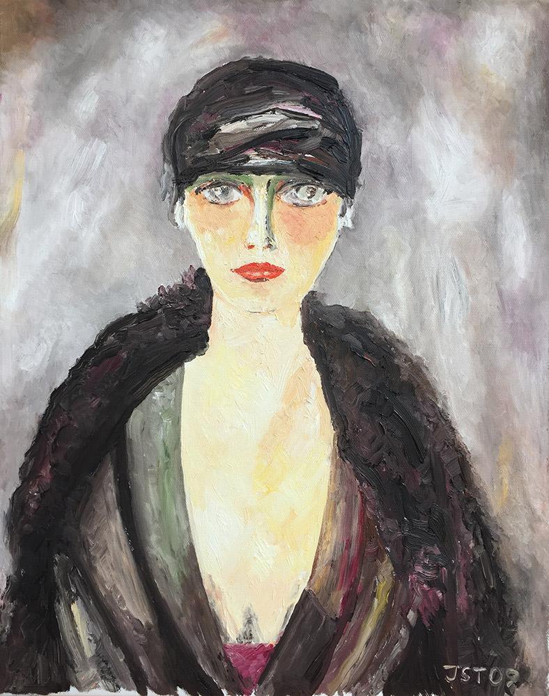 Madame avec fourrure - Öl auf Leinwand - 2002