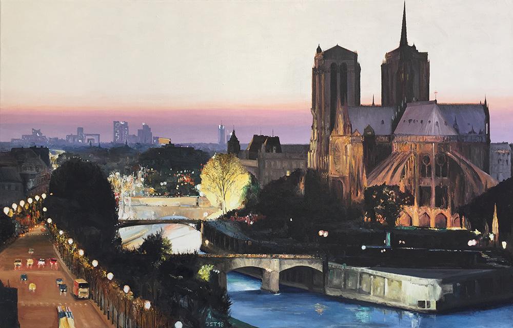 Notre Dame - Öl auf Leinwand - 2018